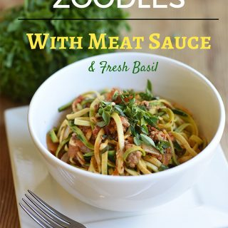 Zoodles with Meat Sauce & Fresh Basil